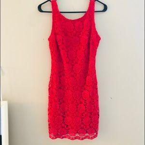 Ark & Co coral crochet shift dress